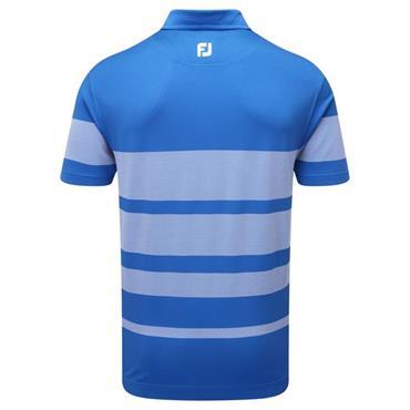 FootJoy Gents Stretch Pique Variable Birdseye Stripe Polo Shirt Cobalt - White