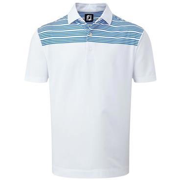FootJoy Gents Lisle with Shoulder Stripes Polo Shirt White - Cobalt - Yellow