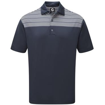 FootJoy Gents Lisle Shoulder Stripe Polo Shirt Navy - Grey