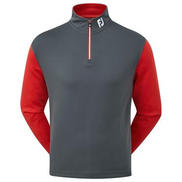FootJoy Gents Double Layer Knit Contrast Chill Out Top Charcoal - Red