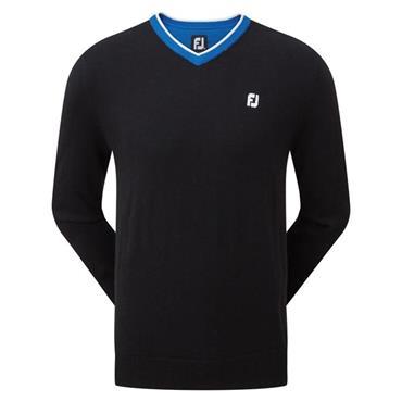 FootJoy Gents Wool Blend V-Neck Pullover Black - Cobalt