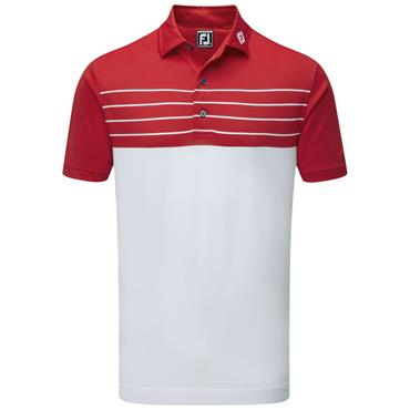 FootJoy Gents Pique Striped Polo Shirt White - Red