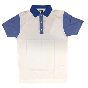 FootJoy Gents Lisle Stripe Polo Shirt Silver White - Marine - White