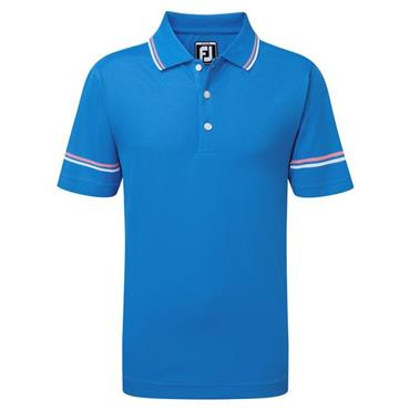 FootJoy Junior - Boys Smooth Pique Polo Shirt Sapphire - Pink - White