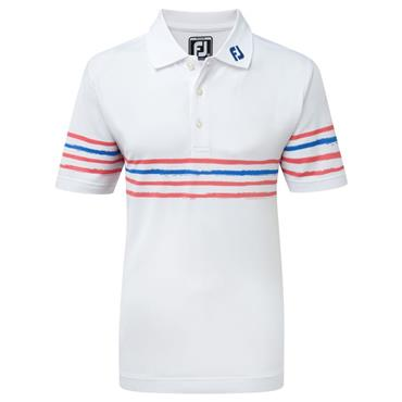 FootJoy Junior - Boys Stretch Pique Polo Shirt White - Azalea