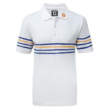 FootJoy Junior - Boys Stretch Pique Polo Shirt White - Navy