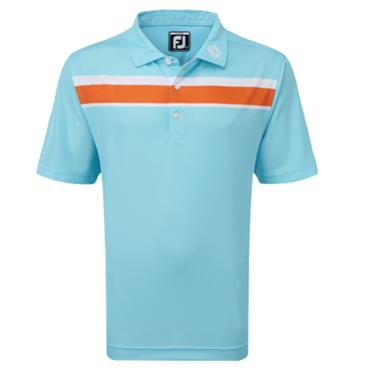 FootJoy Junior - Boys Chest Stripe Polo Shirt Aqua - Orange