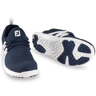 Footjoy Ladies Leisure Slip-On Shoes Wide Fit Navy - White
