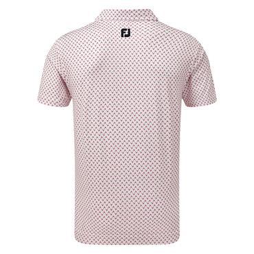 FootJoy Gents Lisle Palm Print Polo Shirt White - Red
