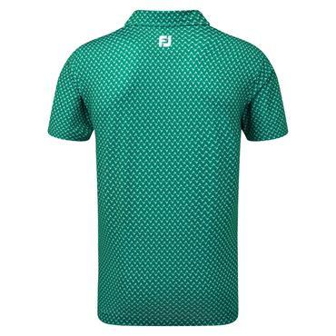 FootJoy Gents Lisle Palm Print Polo Shirt Emerald - White