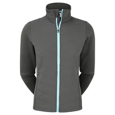 FootJoy Ladies Thermal Quilted Jacket Charcoal - Sky Blue