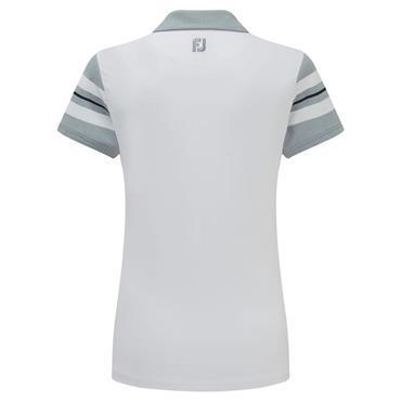 FootJoy Ladies Baby Pique Sleeve Stripe Polo Shirt White - Grey - Navy