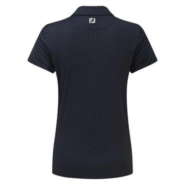 FootJoy Ladies Smooth Pique with Pin Dot Print Polo Shirt Navy - Grey