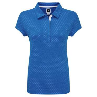 FootJoy Ladies Smooth Pique with Pin Dot Print Polo Shirt Royal - White