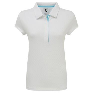 FootJoy Ladies Smooth Pique with Pin Dot Print Polo Shirt White - Blue