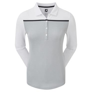 FootJoy Ladies Smooth Pique Long Sleeve Colour Block Polo Shirt Heather Grey - White - Navy