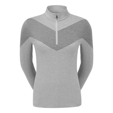 FootJoy Ladies Engineered Jersey 1/2 Zip Top Grey - Black