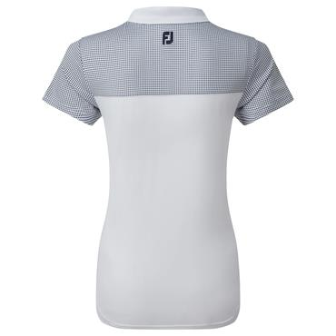 FootJoy Ladies Lisle Polo Shirt with Dot Print Yoke White - Navy