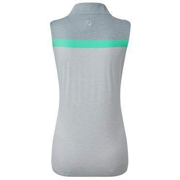FootJoy Ladies Lisle Engineered Stripe Sleeveless Polo Shirt Grey - White - Jade
