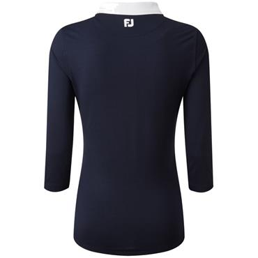 FootJoy W 3/4 Sleeve Pique Shirt Navy - Rose