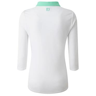 FootJoy Ladies ¾ Sleeve Pique Polo Shirt With Contrast Trim White - Jade