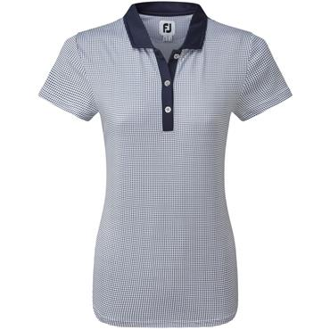 FootJoy W Cap Sleeve Dot Print Shirt Navy