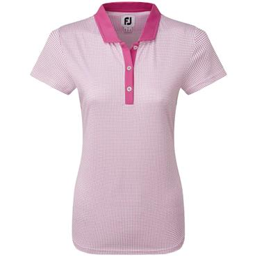 FootJoy W Cap Sleeve Dot Print Shirt Rose