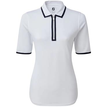 FootJoy W Zip Pique 1/2 Sleeve Shirt White - Navy