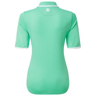 FootJoy Ladies Zip Placket Pique ½ Sleeve Polo Shirt Jade - White