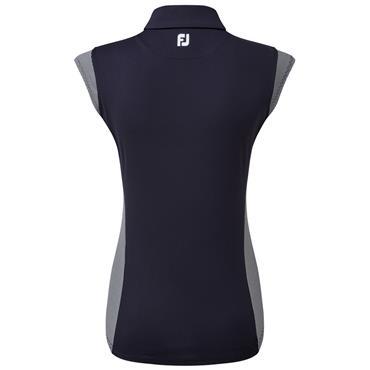 FootJoy Ladies Cap Sleeve Polo Shirt Navy - White
