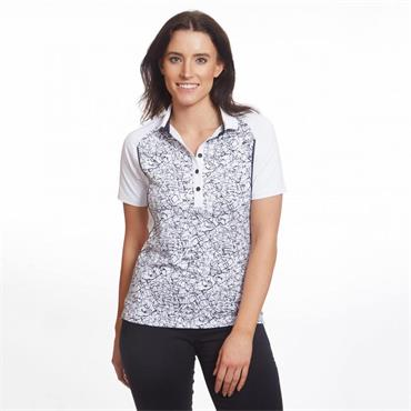 Green Lamb Ladies Prisca Raglan Sleeve Polo Shirt White - Navy