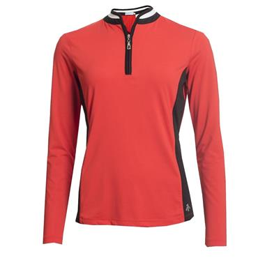 Green Lamb Ladies Prunella Long Sleeve Polo Shirt Rouge - Black