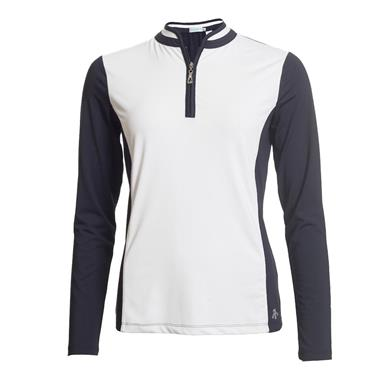 Green Lamb Ladies Prunella Long Sleeve Polo Shirt White - Navy