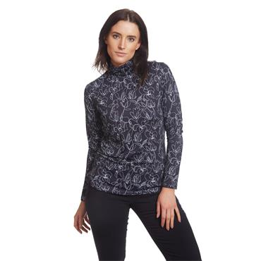 Green Lamb Ladies Regina Printed Roll Neck Black - White