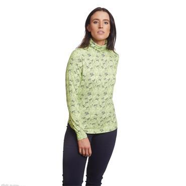 Green Lamb Ladies Regina Printed Roll Neck Lime - Navy