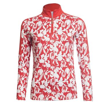 Green Lamb Ladies Rena 1/2 Zip Printed Top Rouge - White