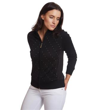Green Lamb Ladies Gail Spot Windbarrier Cardigan Black - White