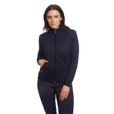 Green Lamb Ladies Gail Spot Windbarrier Cardigan Navy - Lime