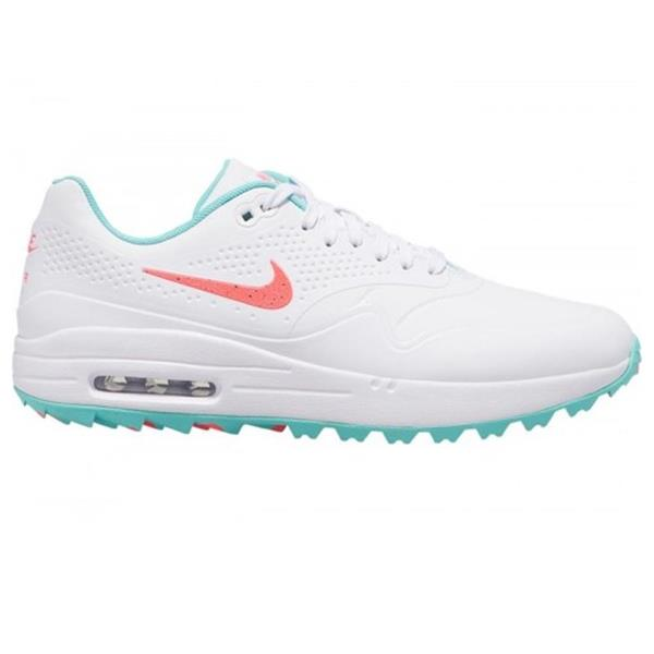 Nike Gents Air Max 1g Golf Shoes White Hot Punch Aurora Green Golf Store