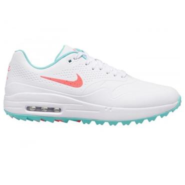 Nike Gents Air Max 1G Golf Shoes White - Hot Punch - Aurora Green