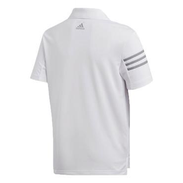 adidas Junior - Boys 3 Stripe Polo Shirt White