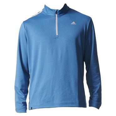 adidas Gents 3-Stripe 1/4 Zip Terry Top Blue