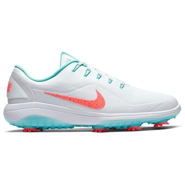 Nike Gents React Vapor 2 Golf Shoes White - Hot Punch - Aurora Green