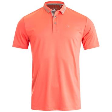 Calvin Klein Golf Gents Madison Jersey Tech Polo Shirt Coral