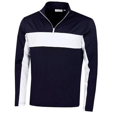 Calvin Klein Golf Gents Embossed ½ Zip Top Navy  - White