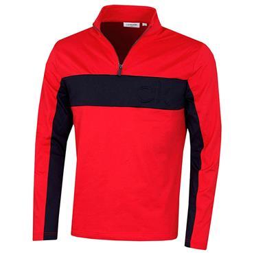 Calvin Klein Golf Gents Embossed ½ Zip Top Red - Navy