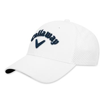 Callaway Mesh Fitted Cap White - Navy  -Silver