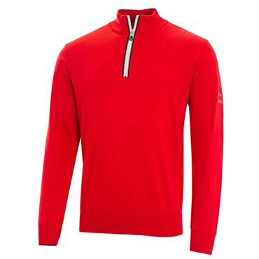 Cutter & Buck Gents Tech Lined Windblock Sweater Red