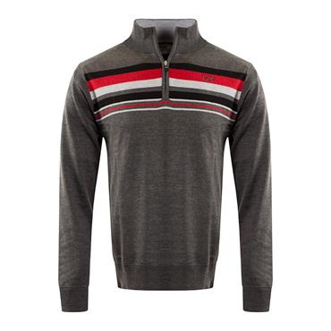 Cutter & Buck Gents Striped Lined Windblock Sweater Chracoal - Melange