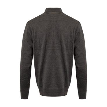 Cutter & Buck Gents Staggered Striped Lined Windblock Sweater Black - Charcoal